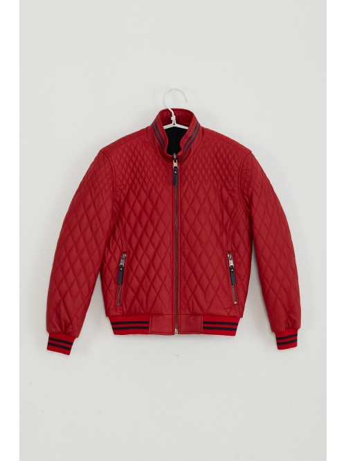 Emelda Red Kids Leather Jacket