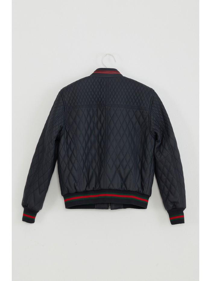Emelda Navy Kids Leather Jacket