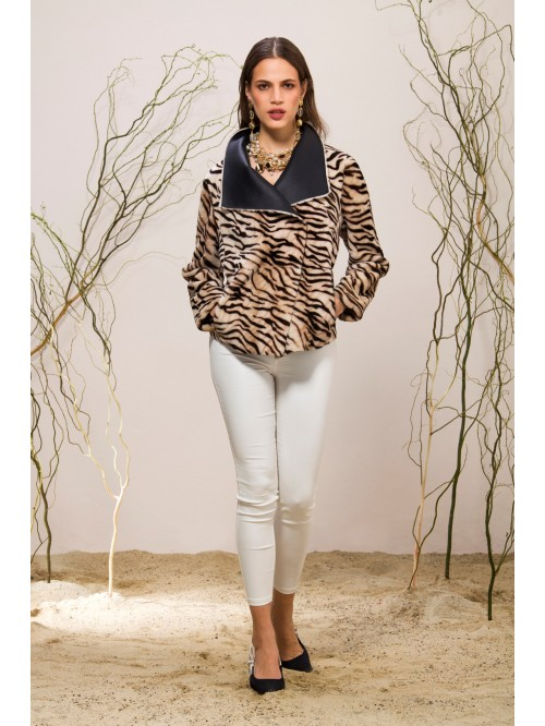 Emelda Double Face Leopar Shearling Jacket