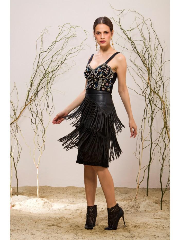 Emelda Tasseled Leather Skirt