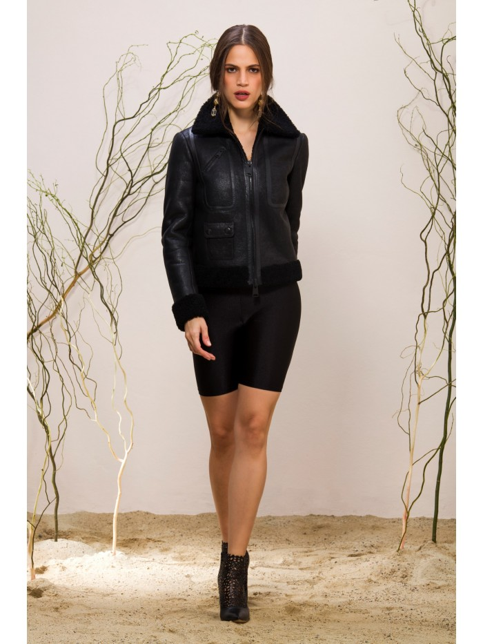 Emelda Black Shearling Jacket