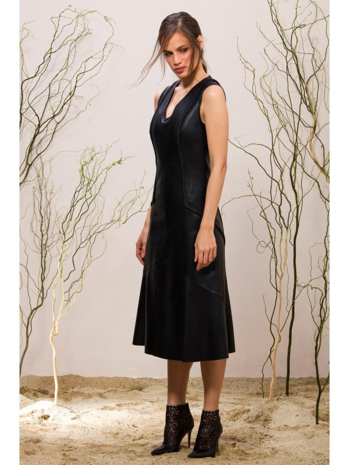 Emelda Black Leather Dress