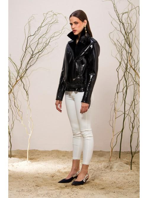 Emelda Black Shiny Shearling Jacket