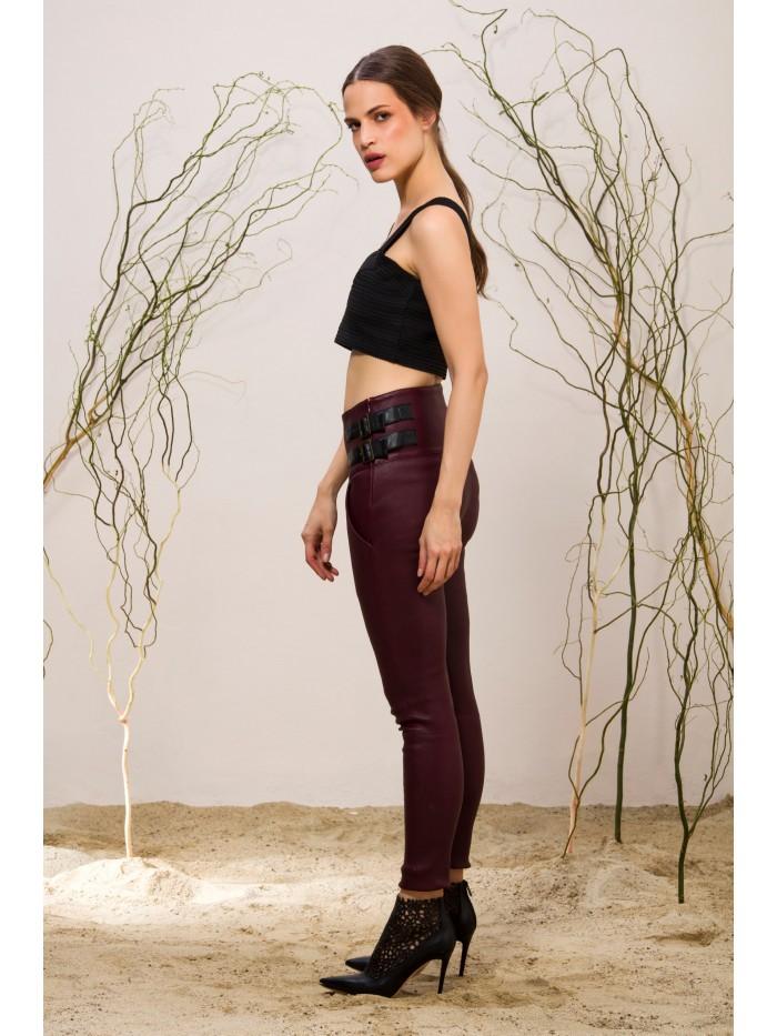 Emelda Burgundy Leather Pant