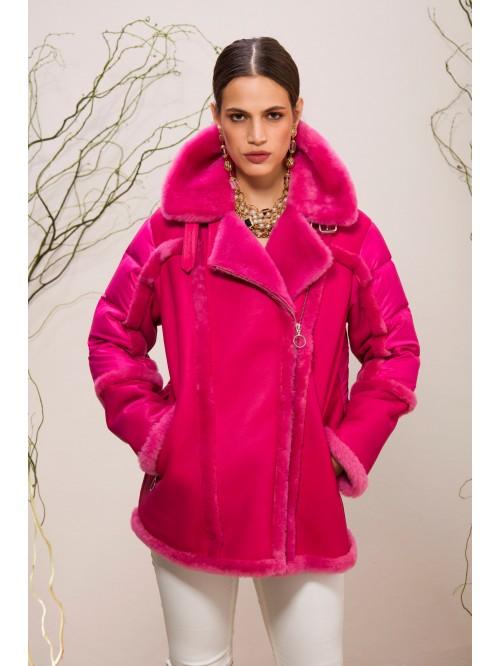 Emelda Pink Shearling Jacket