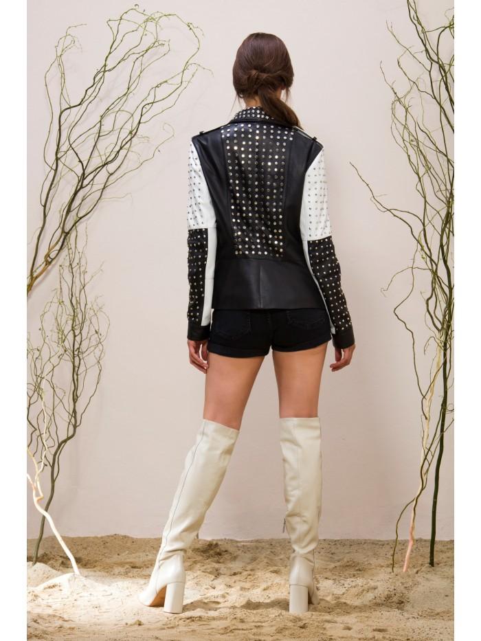 Emelda White-Black Leather Jacket