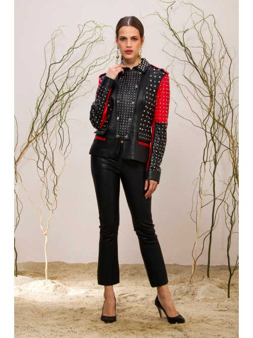 Emelda Black Red Leather Jacket