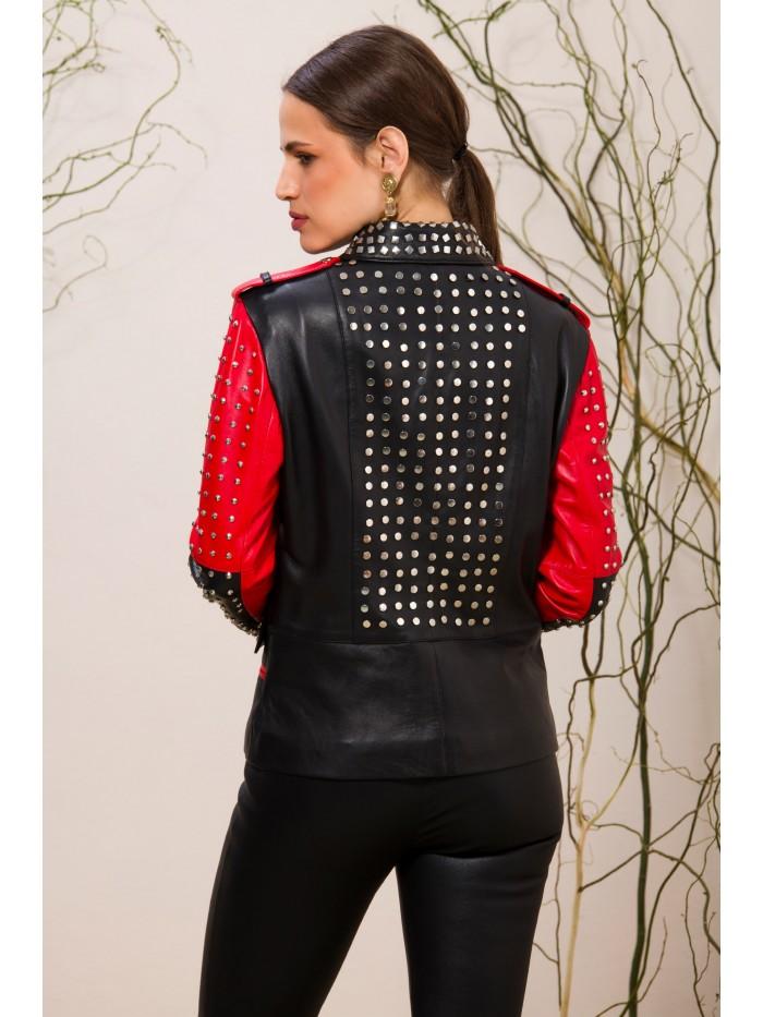 Emelda Black Red Leather Jacket