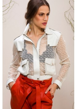 Emelda White Leather Jacket