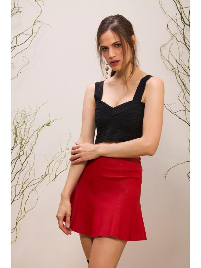 Emelda Red Leather Skirt