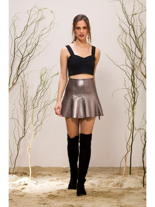 Emelda Silver Leather Skirt
