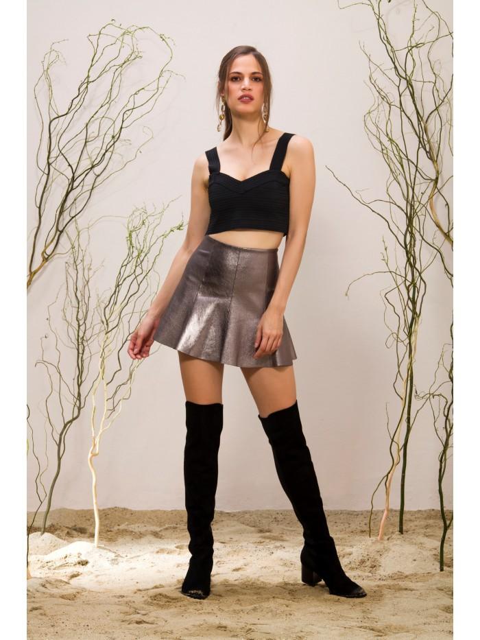 Emelda Silver Leather Skirt