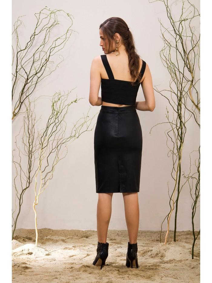 Emelda Black Leather Skirt