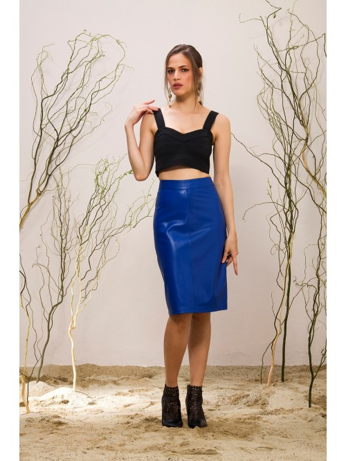 Emelda Blue Leather Skirt