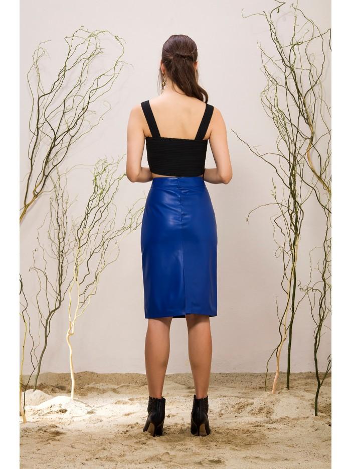 Emelda Blue Leather Skirt