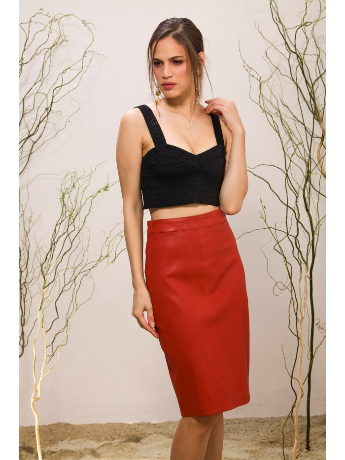 Emelda Red Leather Skirt
