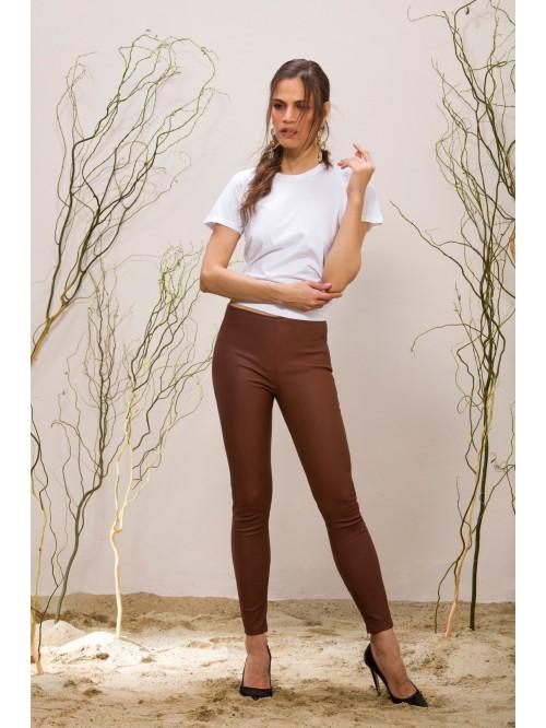 Emelda Camel Leather Pant