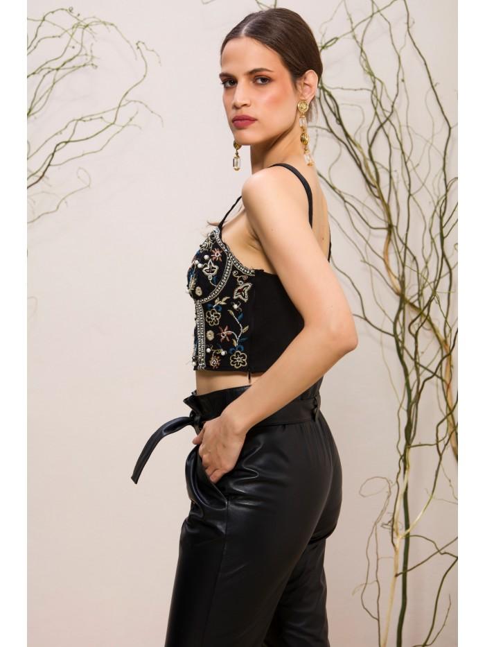 Emelda Black Leather Pant