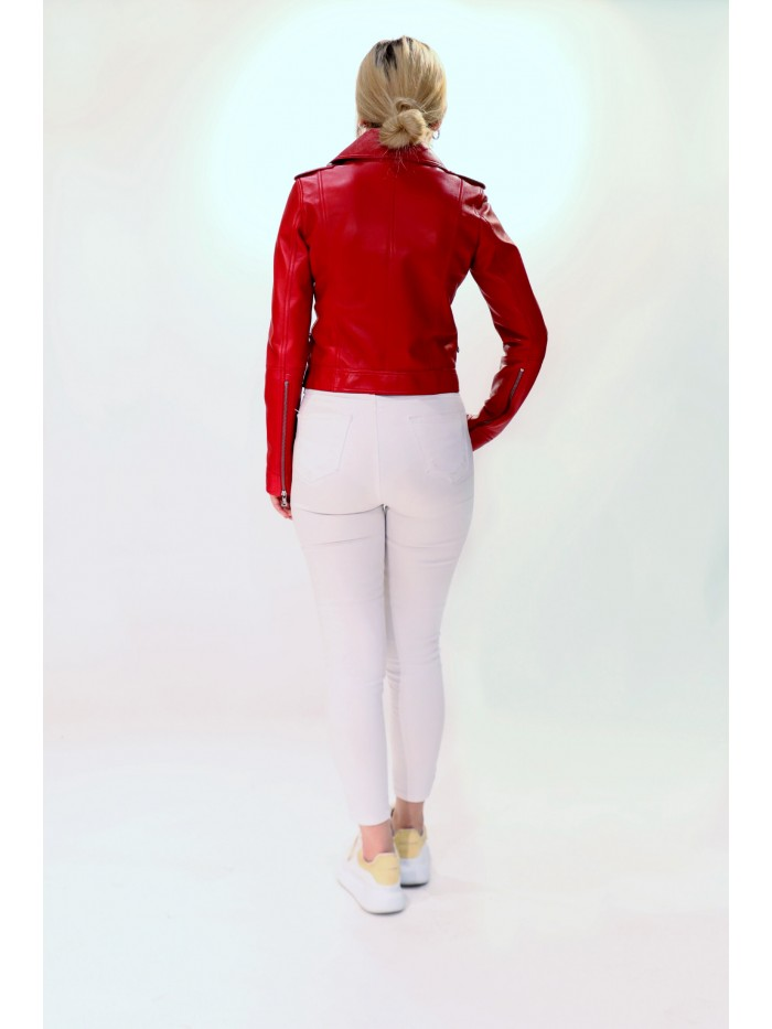 Emelda Red Leather Jacket