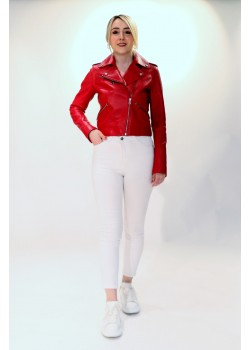 Emelda Red Leather Jacket