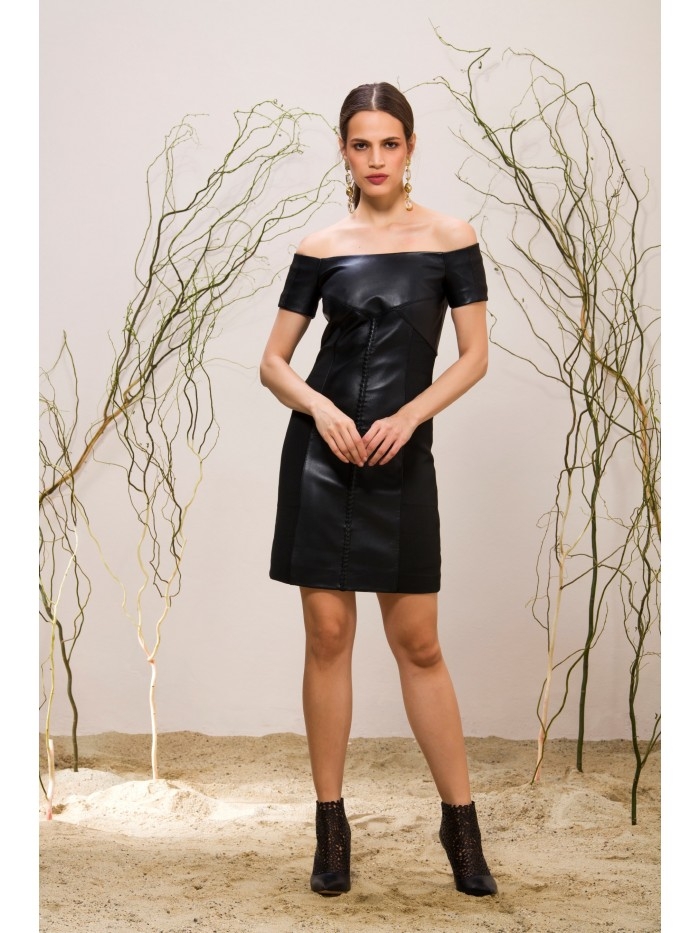 Emelda Black Leather Dress