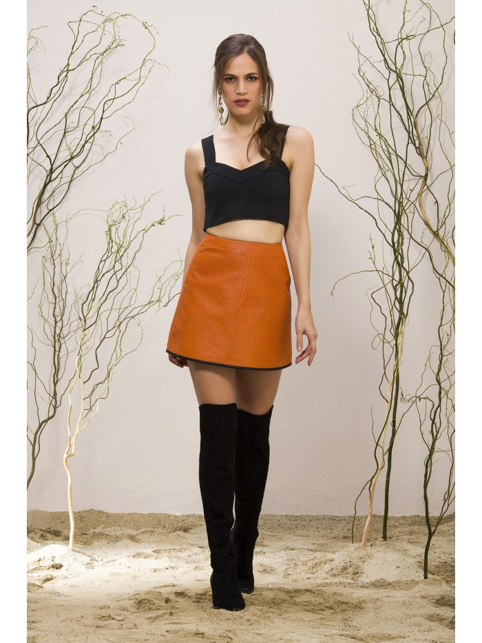 Emelda Leather Skirt Orange