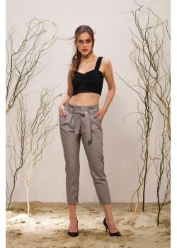 Emelda Grey Leather Pant