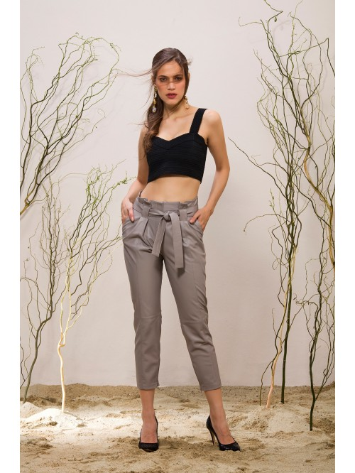 Emelda Grey Leather Pant