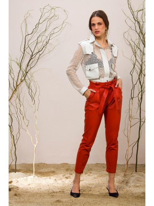 Emelda Red Leather Pant
